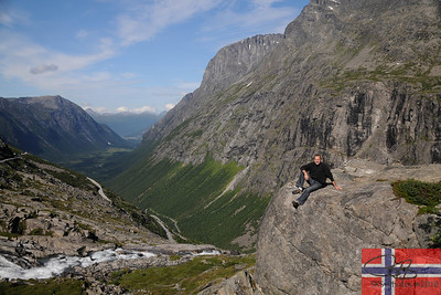 Resting after negotiating the hair-raising switchbacks to reach the top of Trollstigen.  July'10