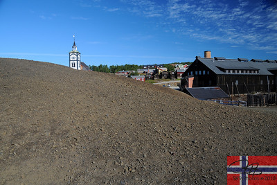 The slag heaps from the old copper mines.  Røros, Norway.