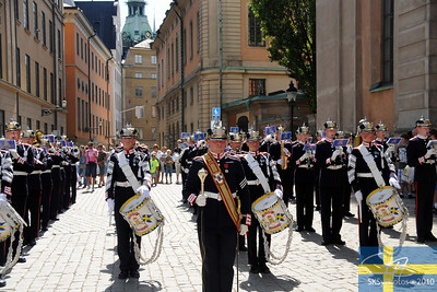 Palace band after changing of the guards ceremony.  In the shadow of the Storkyrke.  Stockholm, Sweden.  7/21/2010