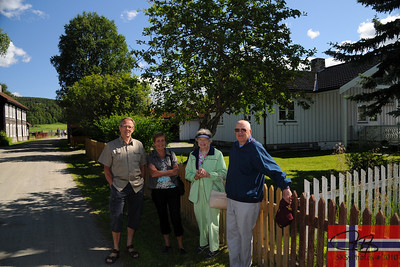 Dag Axel Stengel and Anne Marie (Stengel) Hisdal, brother and sister, by the house they grew up in.  With Eva and dad.  7/24/2010