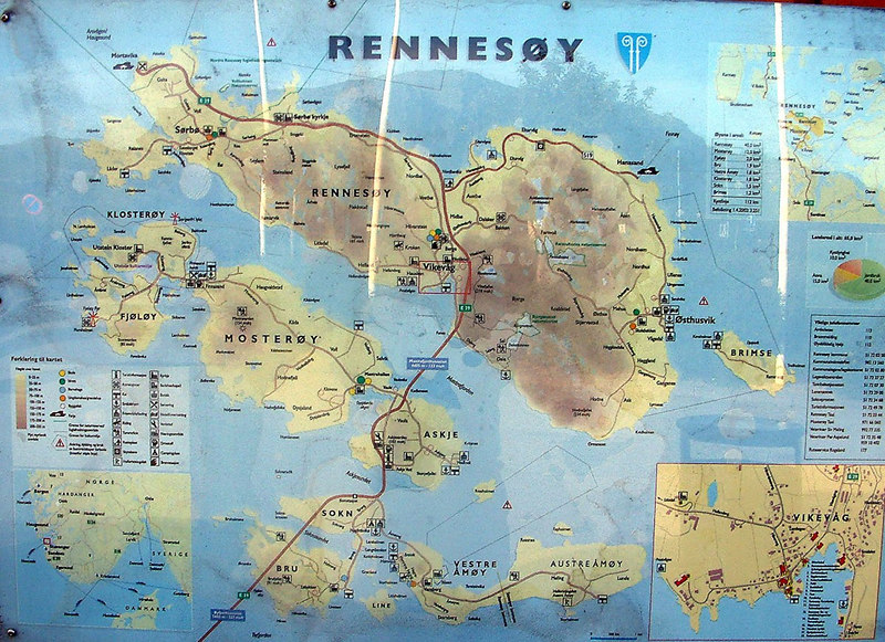 Map of Rennesoy and other islands with Mortavika at top left from where the ferry crosses to Bokn. Tunnel south from island of Bru carries the main road to Stavanger