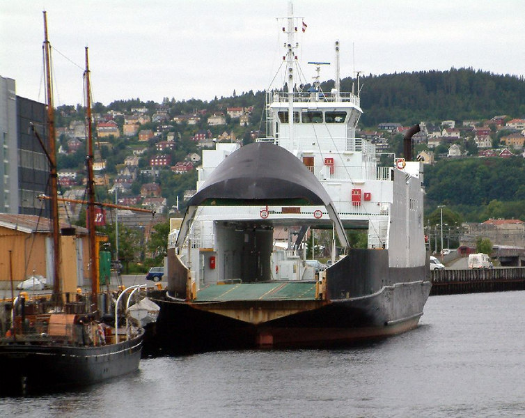 A local ferry undergoing repairs at Trondheim