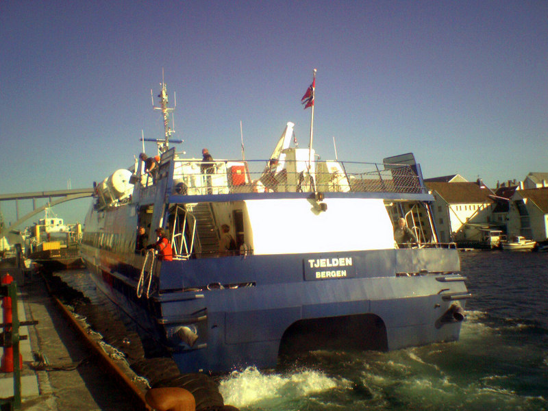 Motor vessel Tjelden arriving at Haugesund on the Bergen - Stavanger coastal service in June 2006