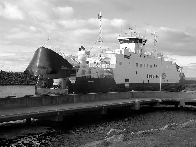 Motor vessel Boknafjord arriving at Mortavika ferry terminal on Rennesoy island, Sept 2005