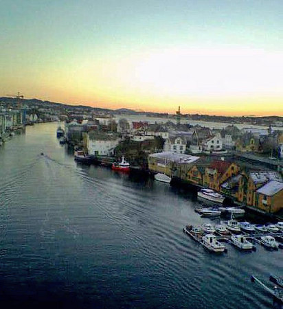 View south over Haugesund frrom Resoy Bridge at dusk, Nov 2005
