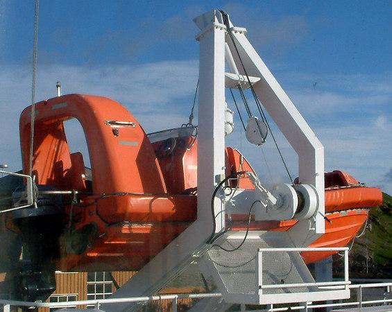 Fast rescue craft on motor vessel Rennesoy