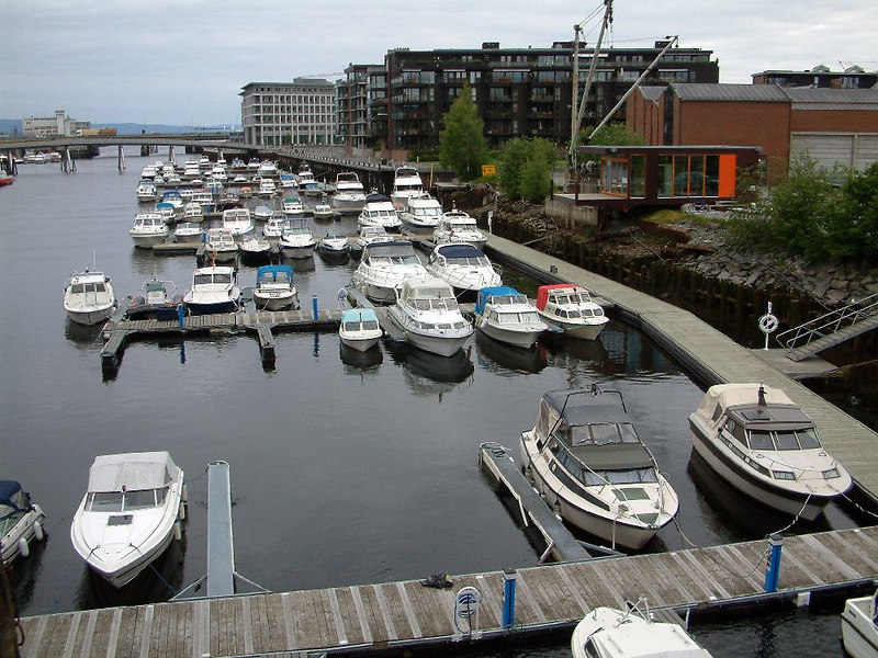 Marina on the river at Trondheim