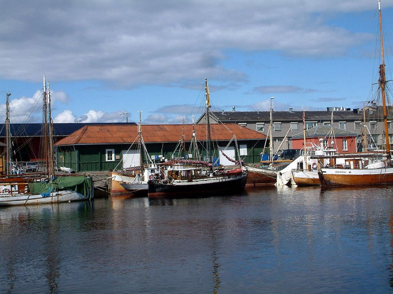 Various vessels in the old canal at Trondheim