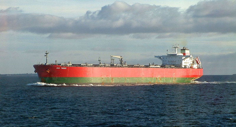 Motor tanker SKS Tweed passing between Renessoy and Bokn inward bound to Karsto Gas terminal