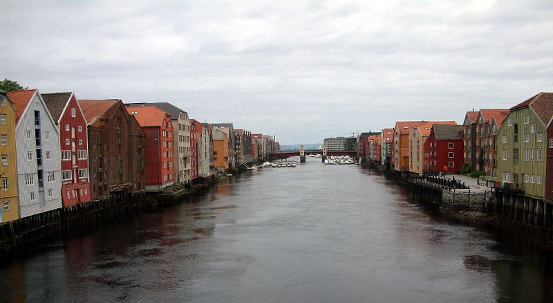 The original port of Trondheim - thr river side buildings are built on wooden (later steel) stilts to lift them above the high water level