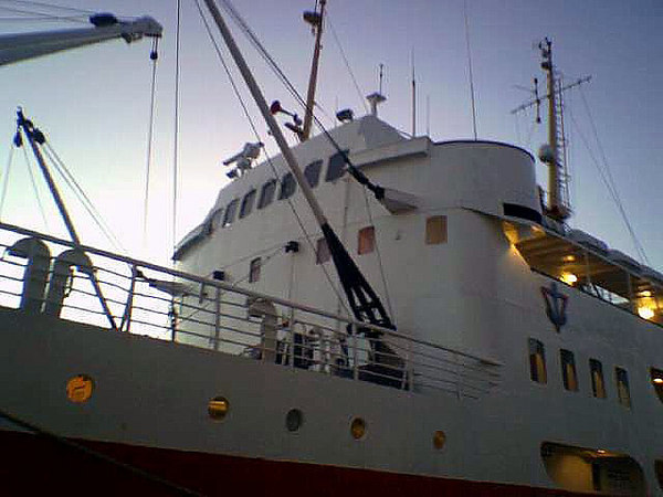 Motor vessel Gann, a former Hurtigruten ship, at Haugesund, Nov 2005