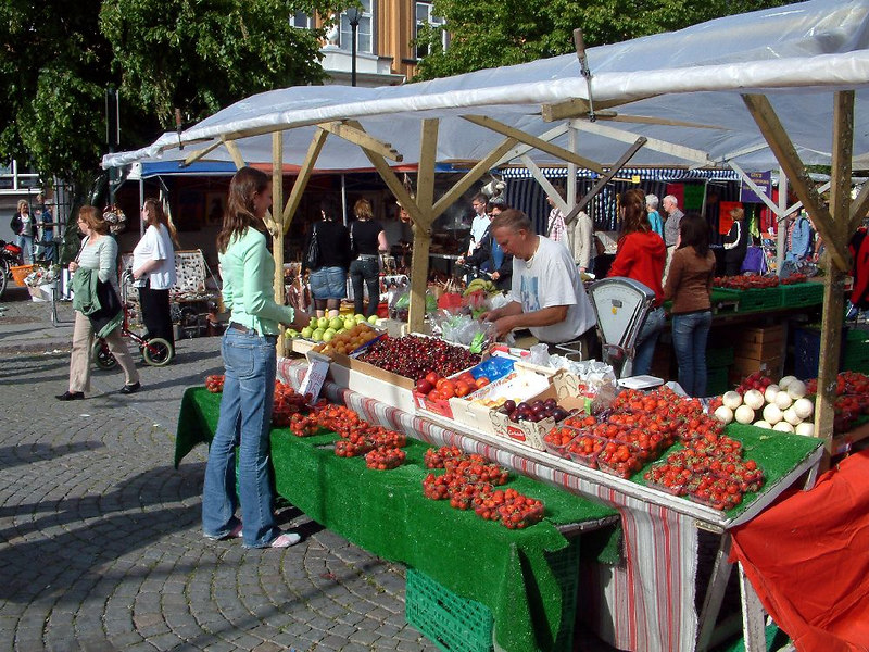 Street market in Trondheim - mid summer strawberries