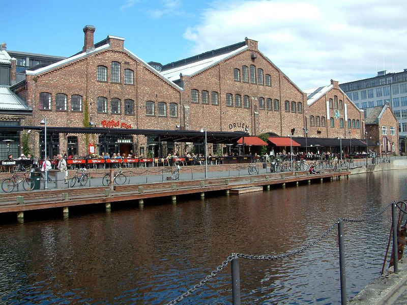 Old dock buildings with new uses at Trondheim