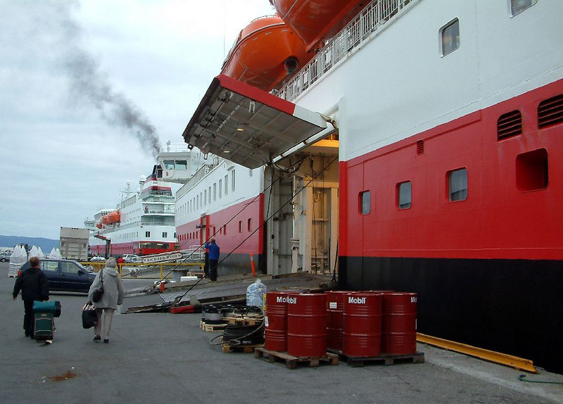 Side loading doors are used to access the vehicle and cargo decks of these vessels