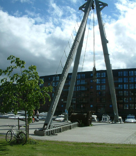 Old dock and preserved cranes at Trondheim
