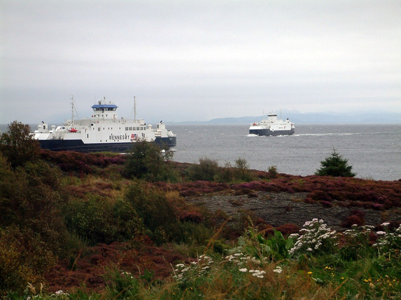 Motor vessels Rennesoy and Boknafjord passing off Arsvagen, Sept 2005