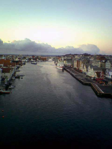 View north from Resoy Bridge towards motor vessel Gann, Nov 2005