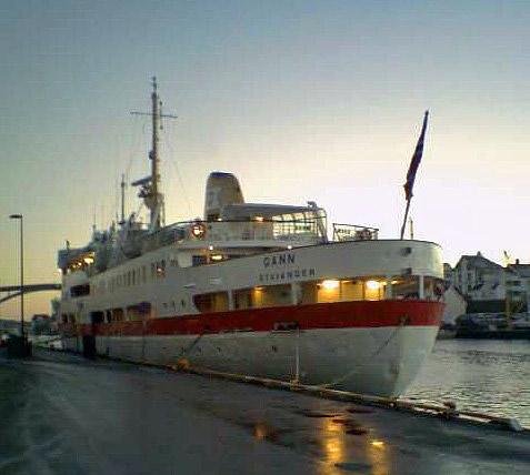 Motor vessel Gann, a former Hurtigruten ship, at Haugesund, Nov 2005