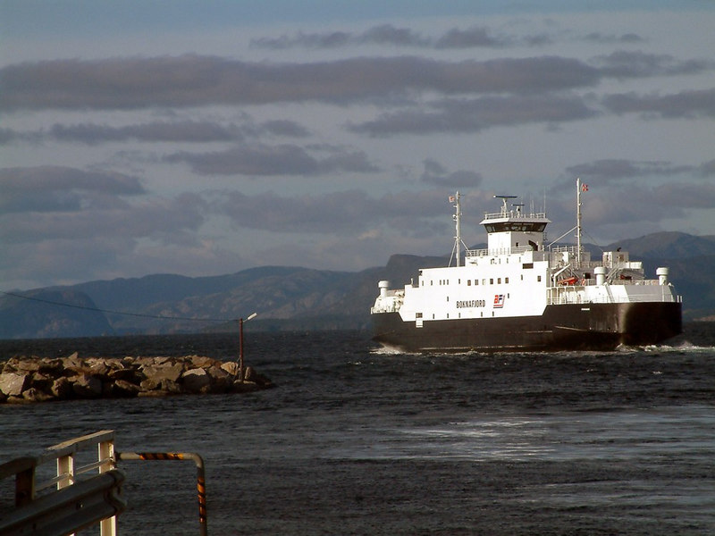 Motor vessel leaving Mortavika, Sept 2005