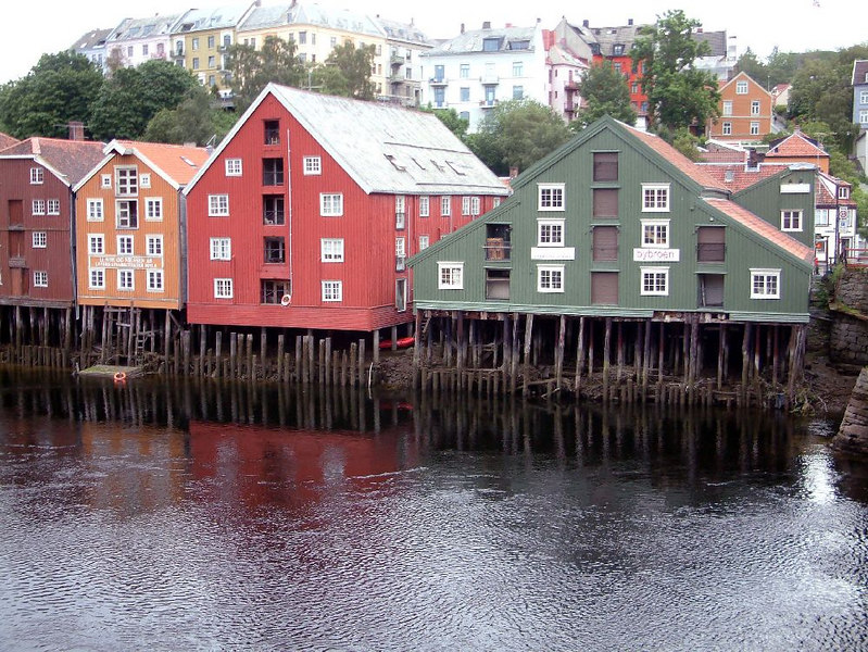 The 800 year old original port of Trondheim on the River Nid - the river side buildings are built on wooden (later steel) stilts to lift them above the high water level