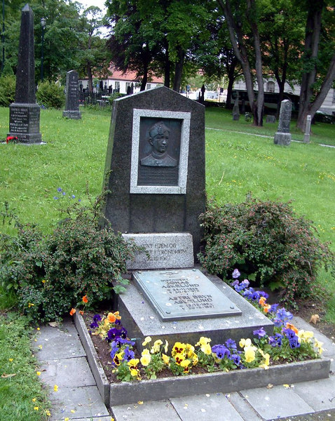 The Nidaros Cathedral, Trondheim - the grave of Karre Bryn Askelund who died at Sonnenburg during the Nazi Occupation of Norway in 1944 at the age of 25.
