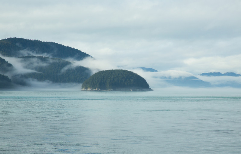 A cloudy day on the Inside Passage of Alaska