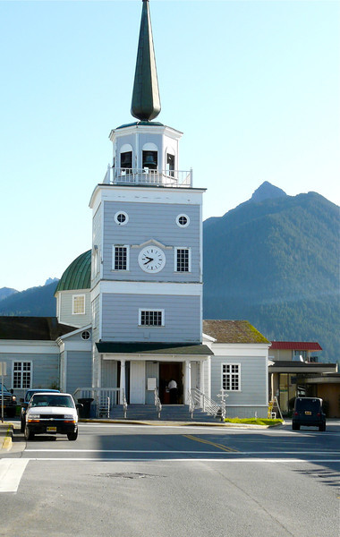 A Russian Orthodox Church, St. Michael's Cathedral in Sitka, Alaska.