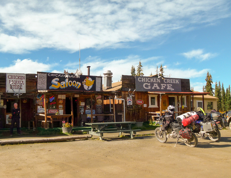 False front buildings with a western feel in downtown Chicken, Alaska.