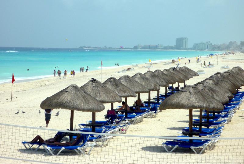 The aqua-colored beach at CasaMagna Marriott in Cancun, Mexico