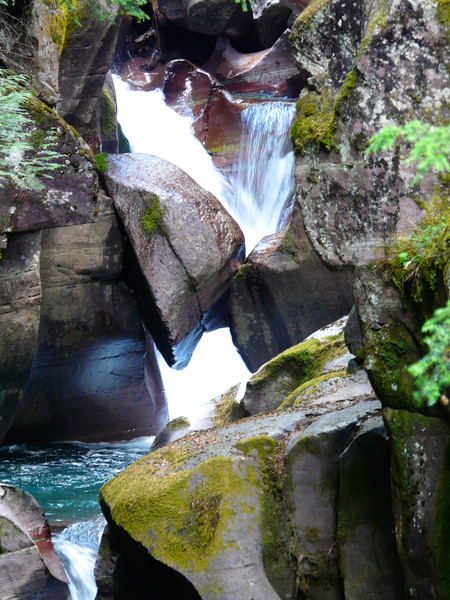 Water surges through the rocks of Avalanche Creek Gorge