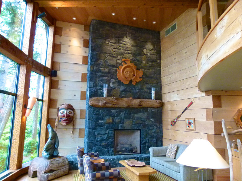 Wood and stone architectural elements at The Wickaninnish Inn