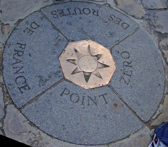 "Point Zero in front of Notre Dame.  All distances within France are measured from this point.  Considered the ""center"" of France."
