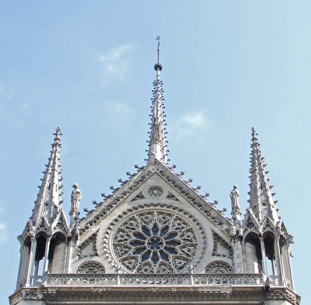 Exterior of the Rose Window and weighted pinnacles.