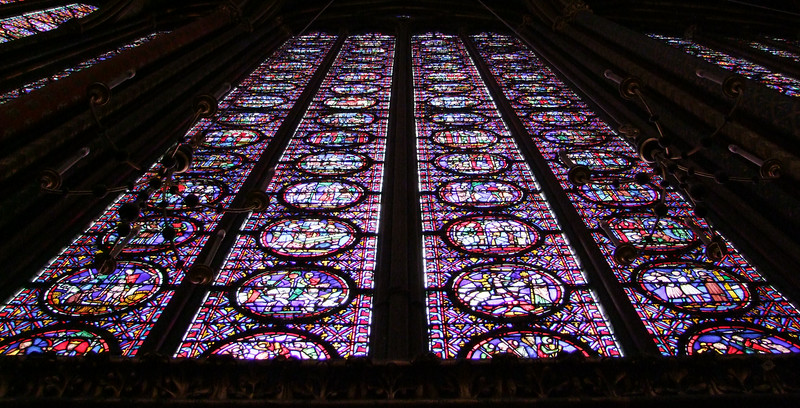 There is 6,500 square feet of stained glass telling the entire Christian history of the world in 1,100 different scenes.  This is one of 15 stained glass panels.