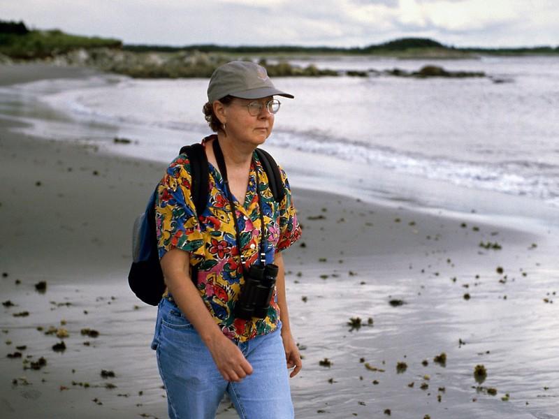 Rita on the beach near Tor Bay, Nova Scotia, 8/04