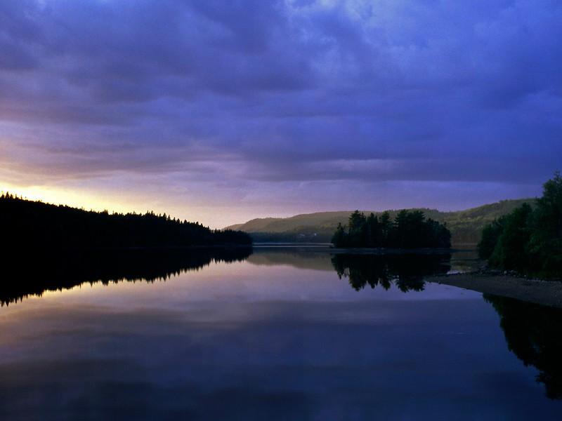 Evening sky reflected in water, Salsman Provincial Park, Nova Scotia, 8/04