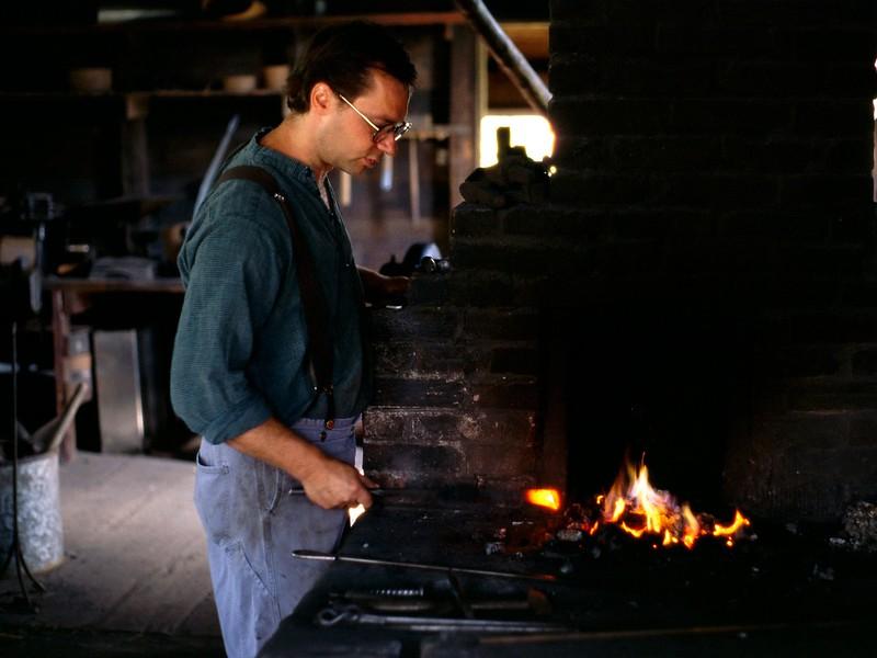 Blacksmith shop, interior, Sherbrooke Village, Nova Scotia, 8/04