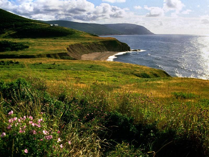 View from beach cliff near Red River, Cape Breton Island, Nova Scotia, 8/04