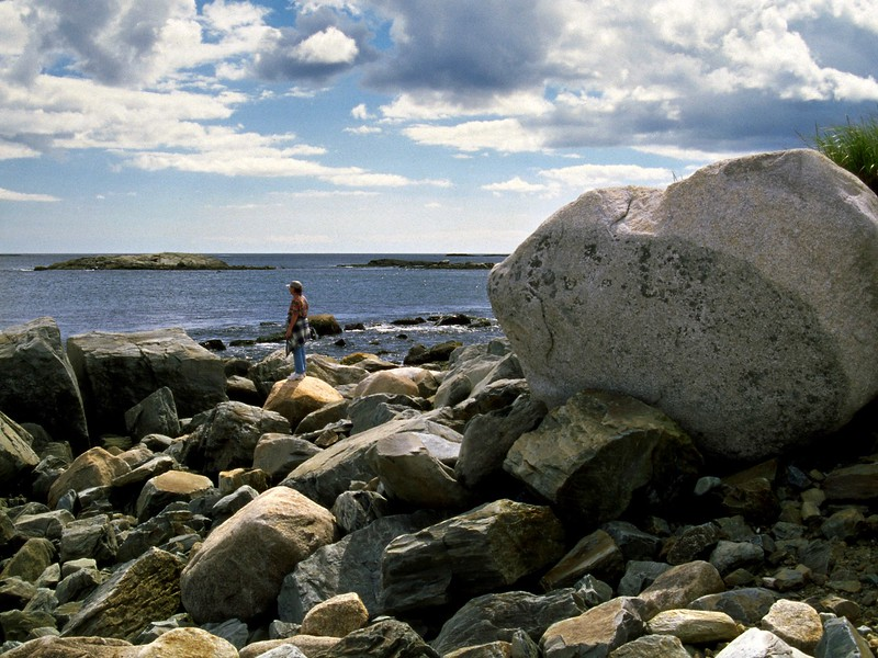 Rita on the rocky beach at Tor Bay, Nova Scotia, 8/04