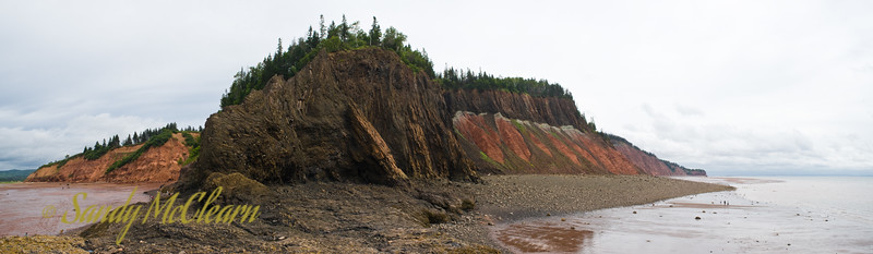 A panorama taken from the beach at Five Islands.