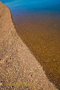 Sandstone gravel on the beach.