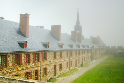 The Bastion at the Fortress of Louisbourg in the fog.