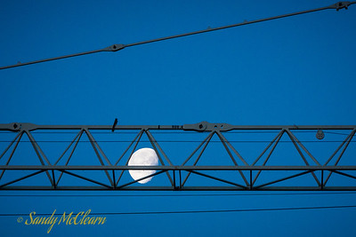 Moon and tower crane.