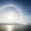 A sun dog makes an appearance over Halifax Harbour as fog moves in.