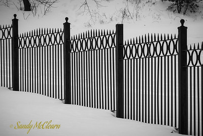 Dartmouth Common fence in snow.
