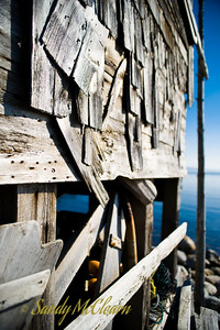 A weathered shed sits on the shore of the Aspotogan Peninsula.