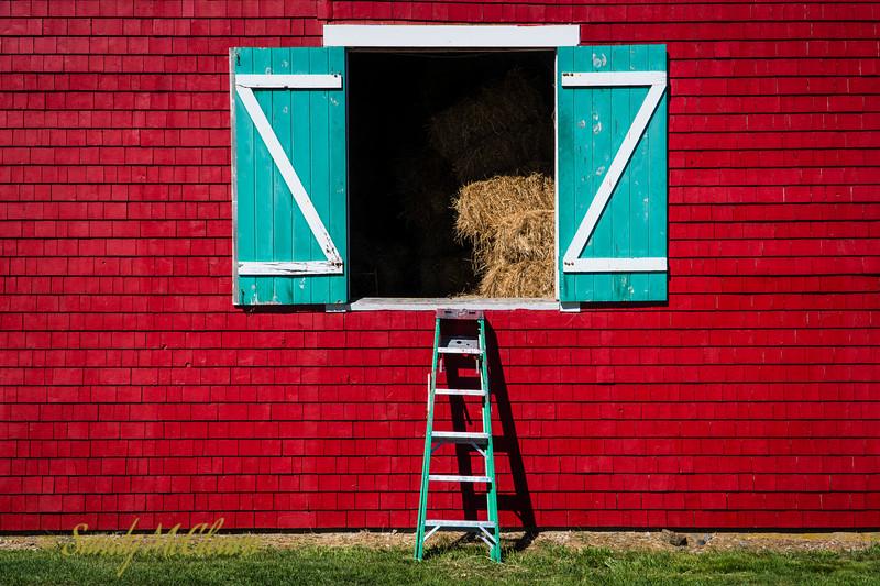 Hay loft doors on a barn in Lunenburg, NS.