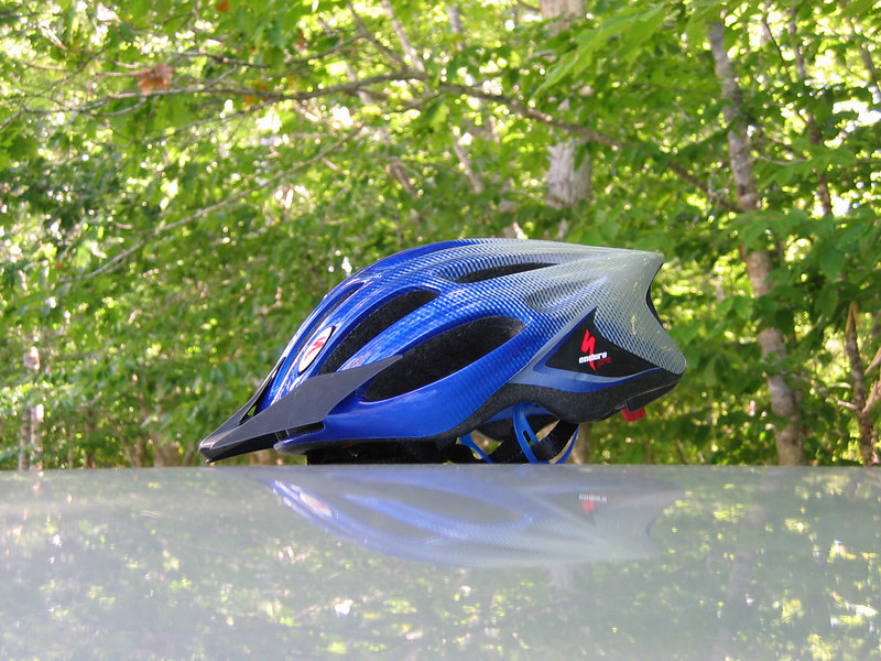 Michelle's bike helmet on our car, Kejimkujik Park, Nova Scotia