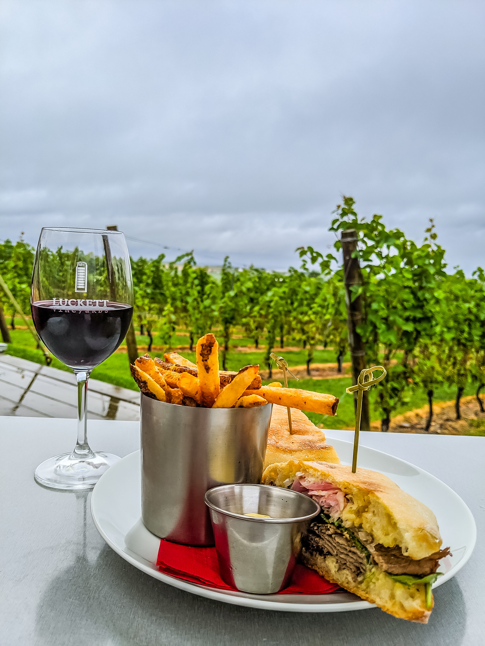 Roast beef sandwich, fries and phone box red wine from Crush Pad at Luckett Vineyards in Nova Scotia.