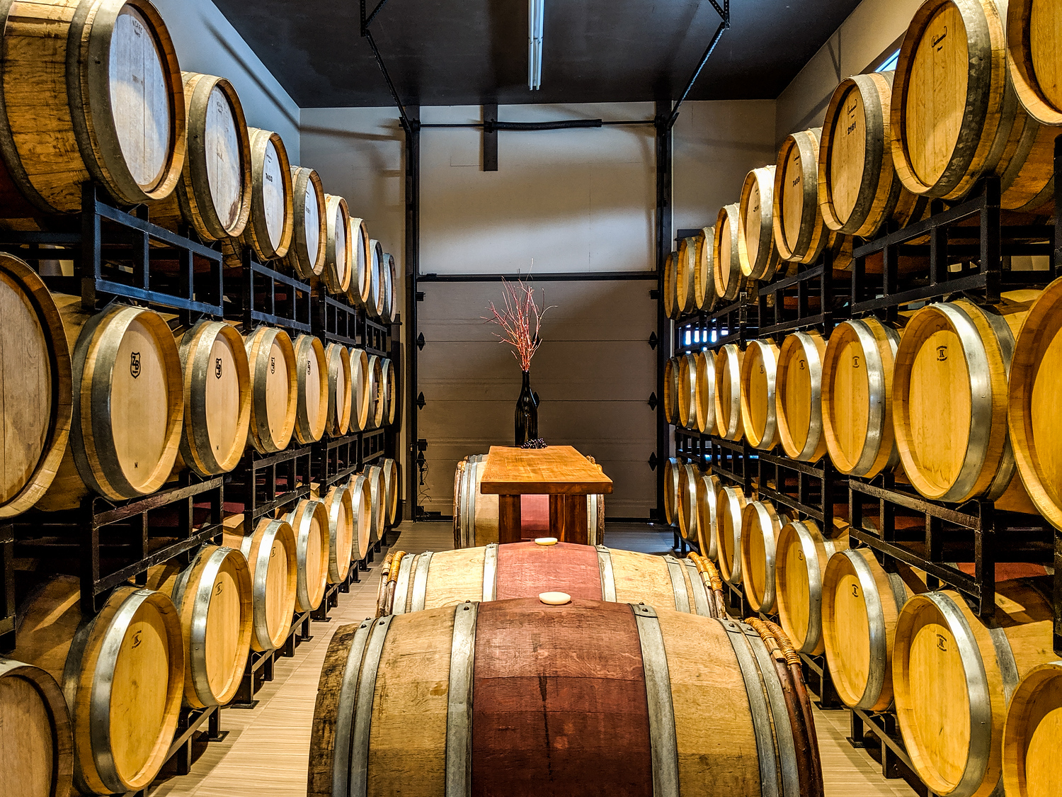 Wine barrels at Gaspereau Vineyard, one of the stops on the Magic Winery Bus